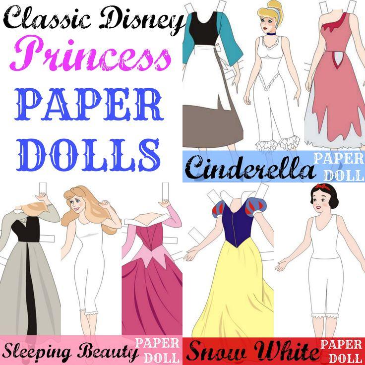 Classic Disney Princess Paper Dolls (FREE Printables)