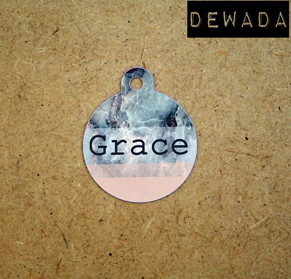 Marble Pet id Tag personalized