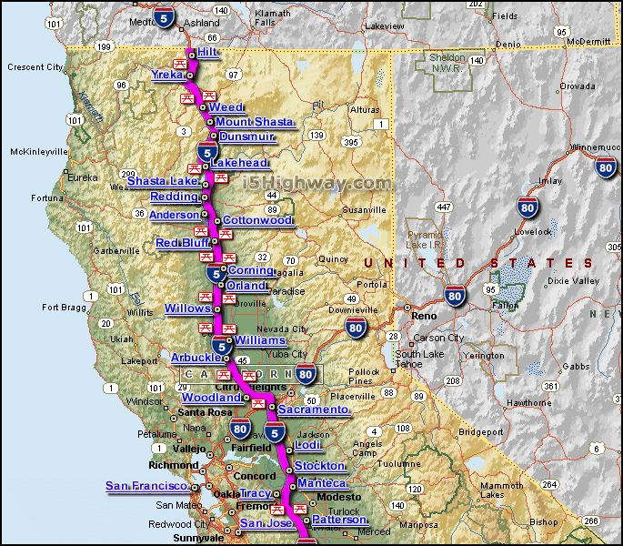 I 5 Northern California Map With Cities And Rest Stops
