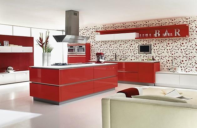 Grifflose Designinselküche GL 5690 in Rot (Ballerina Küchen)