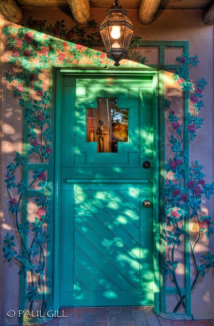 Brighten up your entry! - Santa Fe Doors flowers.jpg by paulgillphoto, via Flickr