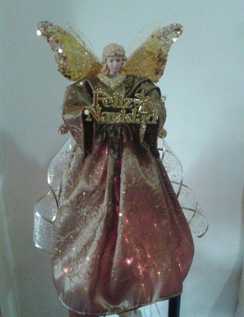 Angel navide o 45 cmts de alto en color bronce con - Angeles de navidad manualidades ...