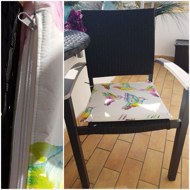 Abwischbares Stuhlkissen aus Schaumstoff und Wachstischdecke mit Reißverschluss