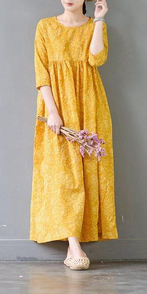 4fb0cd6059b5a SUMMER FLOWER YELLOW CASUAL COTTON DRESSES 3/4 SLEEVE WOMEN CLOTHES ...