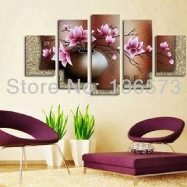 Hand painted home decore flower in vase modern wall pictures decorative flowers oil painting on canvas
