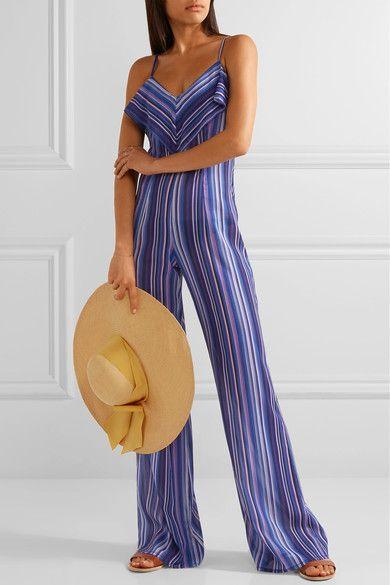 La Perla - Striped Stretch-silk Jumpsuit - Blue