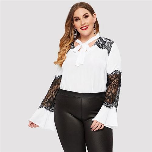 Plus Size Bow Tie Neck Hollow Out Lace Insert Blouses Women 2019 Spring Long Flounce Sleeve Stand Collar Top Blouse WHITE XL
