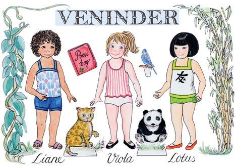 Paperdolls - Påklædningsdukkerne Liane, Viola og Lotus. Pigerne fra de tre forskellige kontinenter Afrika, Europa og Asien er perlevenner, selv om de ikke har de samme kulturelle værdier. Se her hvordan de skiller sig ud fra hinanden.
