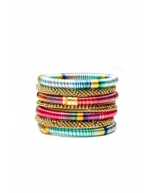 Perfect colors for a tropical getaway! With colours that resemble the blue waters of the ocean and the fiery sunsets of the grand island of Mustique, this stack has 4 silk bangles paired with 3 metal ones. www.hamptonbanglecompany.com #bracelets #fashion #jewelry #trend #style #accessory #sexy #bangles  #imaginehappy