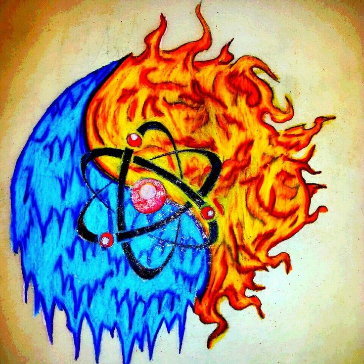 Yin yang fire ice nuclear tattoo by steve b made 2014 for Fire and ice tattoo shop