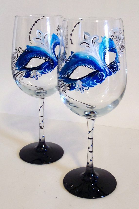 Mardi Gras Mask Hand Painted Custom Wine by LKCustomCreations