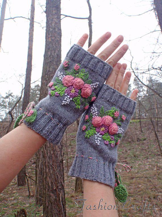 Hand warmersFingerless glovesMittens grayWrist
