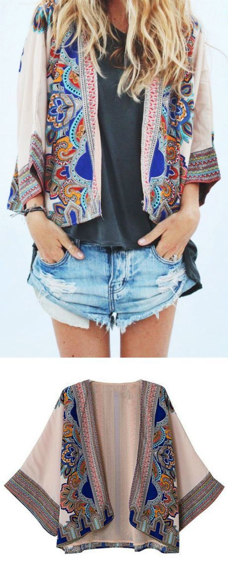 $35.00 - A Bali Floral Print Kimono Cardigan as featured on Pasaboho. This cardi...