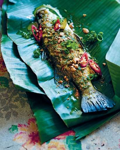 Whole carp cooked in bamboo recipe from The Food of Vietnam by Luke Nguyen | Cooked