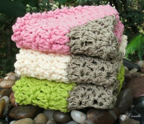 Handmade hemp crocheted wash cloths by Camille on Artfire