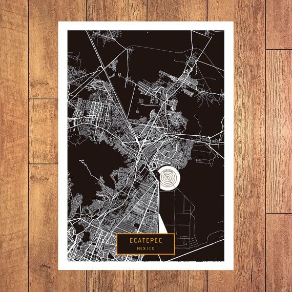 ECATEPEC Mexico CANVAS Large Art City Map by JackTravelMap on Etsy