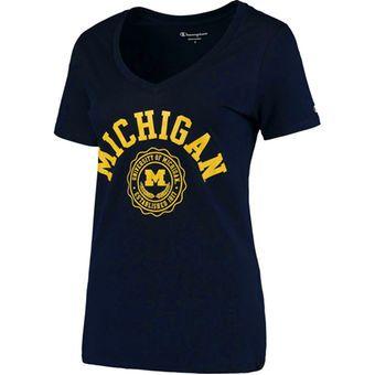 Champion Michigan Wolverines Women's Navy College Seal V-Neck T-Shirt