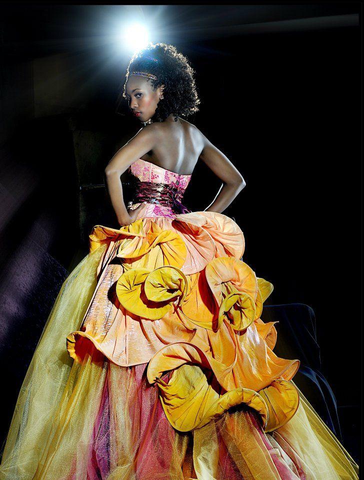 Designer: Yvette van den Berg for Yvi Berg; Photographer: Chris Coetzee; Model: Naomi Bogopa; Avant Garde; Couture; Tulip; Japanese inspired; Evening Gown; African Model; Queen; Majestic; Dramatic; Yellow; Amber; Pink; Orange; Interesting back; Matric dance 2015; South African; Fashion Design