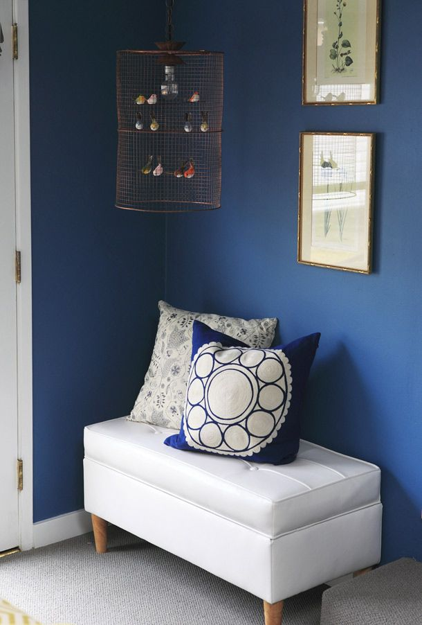 blue walls + bench + whimsical birdcage (style by @emily henderson): Birdcages Lights, All White, Birds Cages, Little Birds, Blue Wall, Wall Benches, Emily Henderson, Birdcages Style, Whimsical Birdcages