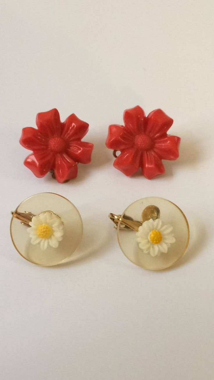 Flower Clip Ons, Clip On Lot, Lucite Earring Lot, Red Lucite Flowers, Clear Lucite Earrings, Small Clips, 1950's Clip Ons, Lucite Earrings by GloryDayz on Etsy