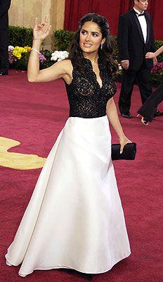 Salma Hayek in Carolina Herrera (Oscars 2003) so hard to find a non-scandalous photo of her.