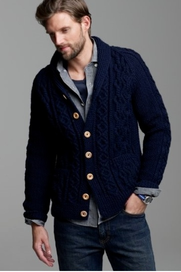This heavyweight cable knit cardigan looks great with a rugged untucked  shirt. I also like how the buttons on the sweater run a little higher than  usual, ...