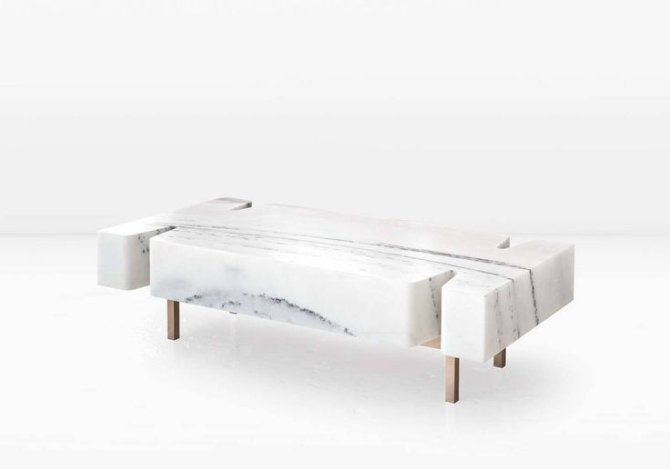 Terranova Coffee Table or Cocktail Table with Hewn Marble Top and Bronze Base | From a unique collection of antique and modern coffee and cocktail tables at https://www.1stdibs.com/furniture/tables/coffee-tables-cocktail-tables/