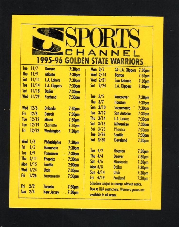 1995-96 Golden State Warriors Schedule--SportsChannel