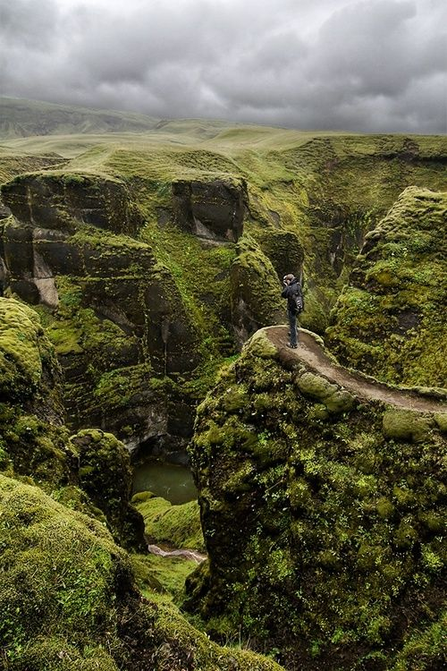 """Fjaðrárgljúfur Canyon, Iceland photo via dulea - Blue Pueblo"" so green..."
