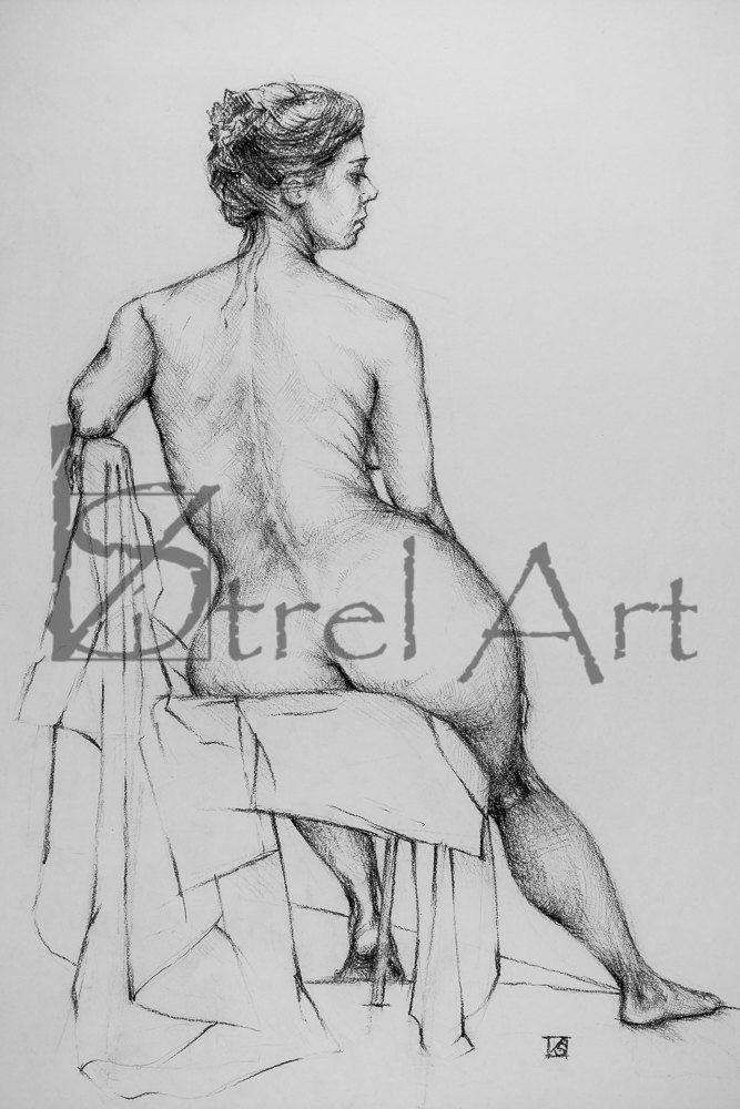 Female nude #9. Digital image of original charcoal pencil drawing. by ArtViStrel on Etsy