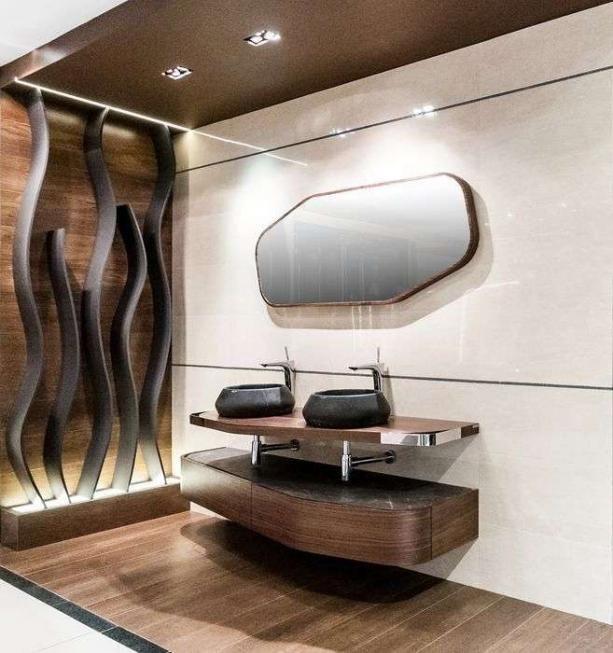 stylowa toaleta w brązie i drewnie