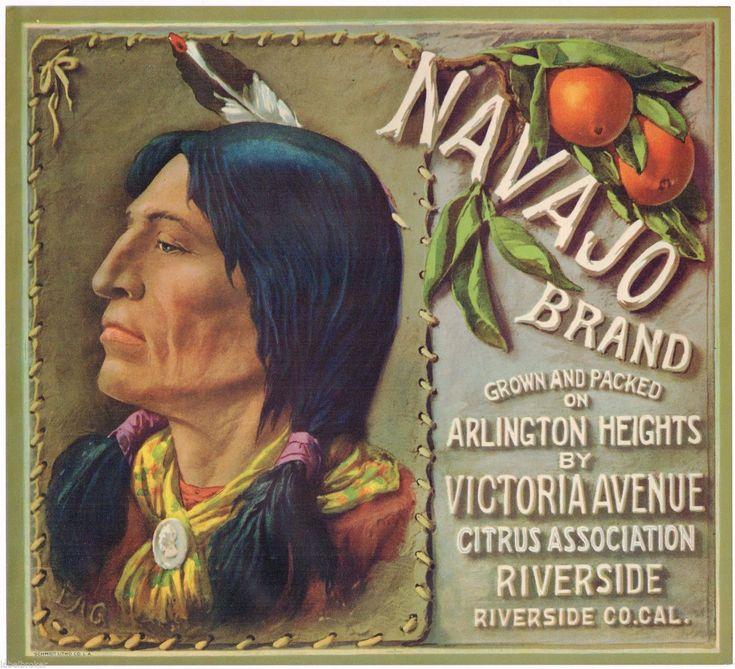 GENUINE NAVAJO ORANGE CRATE LABEL RIVERSIDE AMERICAN INDIAN 1930S VINTAGE GREEN | eBay