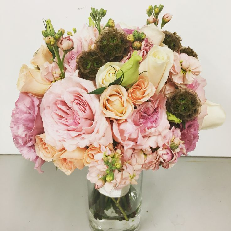 blush bridal bouquet pink and blush garden roses stock spray roses scabiosa
