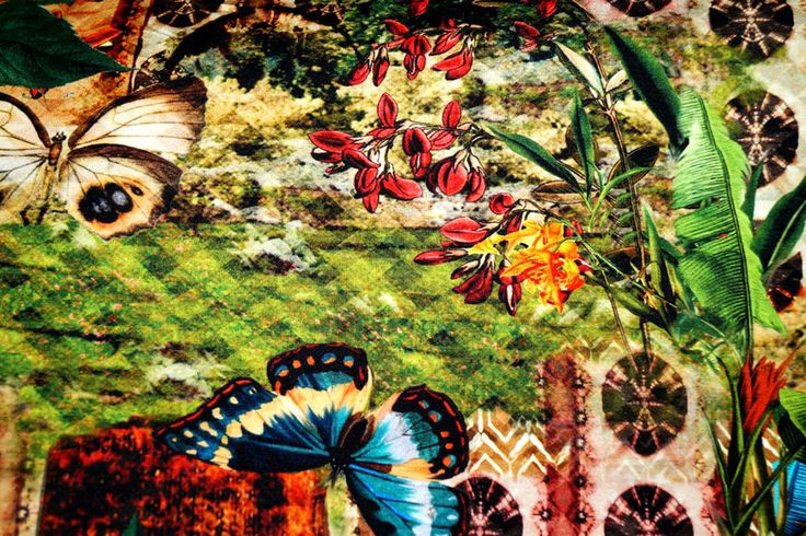 KN15 11810-170 Tricot fantasie met vlinders digitaal groen