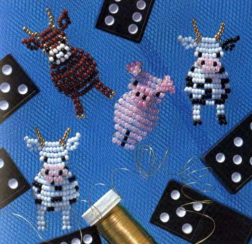 Beaded Cow And Pig Patterns Flat Beaded Objects Patterns