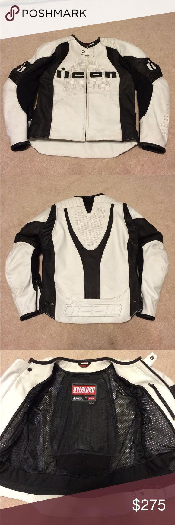 Size medium Men's ICON motorcycle jacket Black and white leather Icon jacket ICON Jackets & Coats