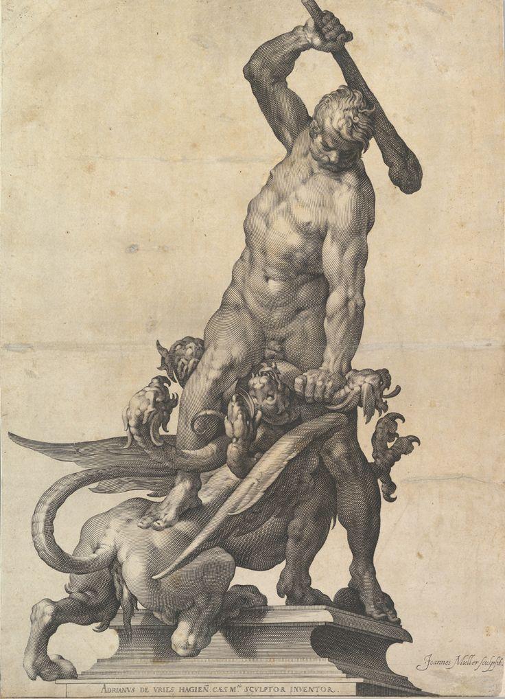 Jan Muller after Adriaen de Vries, Hercules Slaying the Hydra, ca. 1602