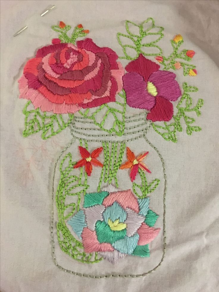 Hand embroidered flowers  Image from UrbanThreads