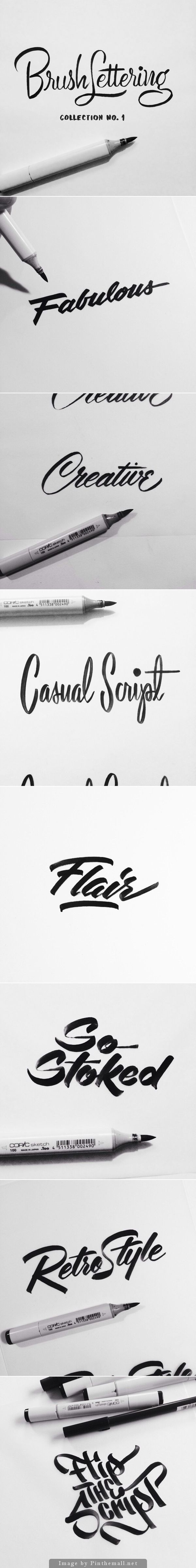 Brush Lettering Collection No. 1 is an exploration of achieving different brush script lettering styles using one writing instrument - a Copic Sketch marker | Designer: Neil Secretario