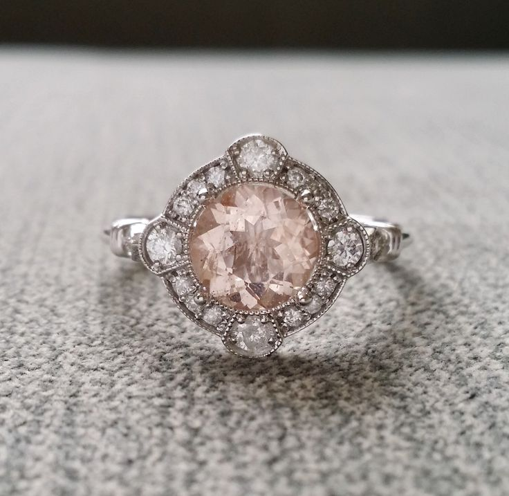 estate halo moraganite diamond antique engagement ring victorian art deco peach pink edwardian 14k white gold - Estate Wedding Rings