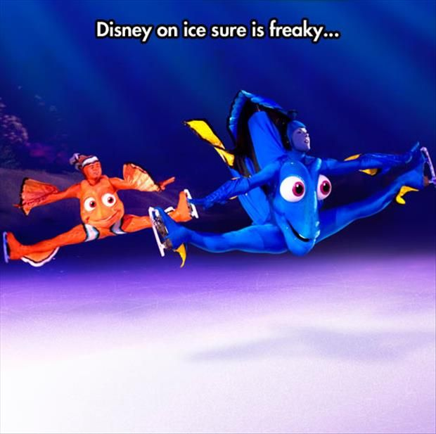 This is why i can never take tom to disney on ice, he'll be freaked out and i'll wet myself laughing