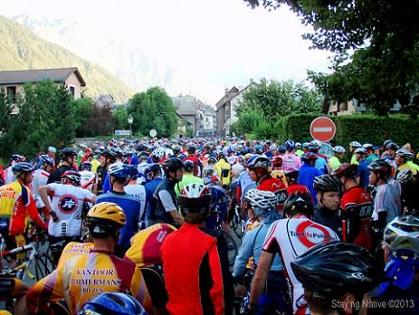 In the mass start looking toward the starting line - La Marmotte in Bourg d'Oisans  #France #DoItLikeaLocal