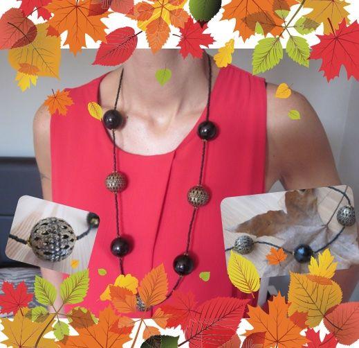 Welcome autumn! Collana con sfere grandi nere e sfere grandi in metallo color bronzo