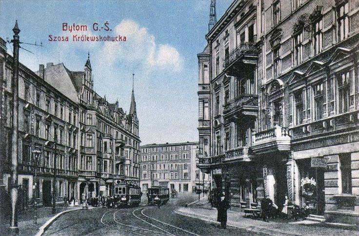 Początek ulicy Chorzowskiej, około 1905-1906 roku.