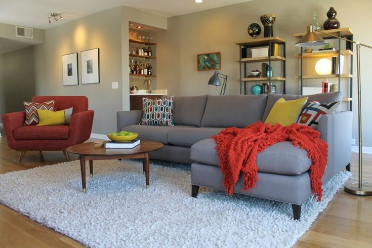mid century modern living room grey sectional sofa vintage style chair in red white shag rug red blanket modern bookcases mini wine racks of Make Your Guests Impressed with These Fabulous Mid Century Living Room Sets Accented with Modern Style