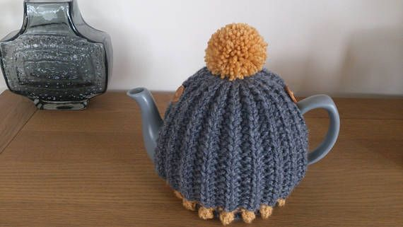 Grey / Mustard hand knitted tea cosy with bobbles and pompom