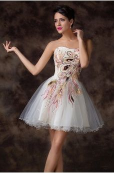 Sukienka z pawimi piórami   sukienki tiulowe