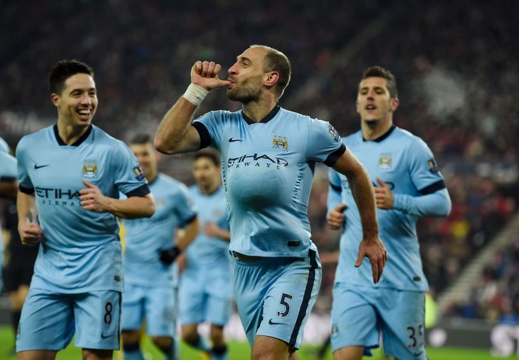 Pablo Zabaleta of Manchester City celebrates after scoring his team's third goal ...