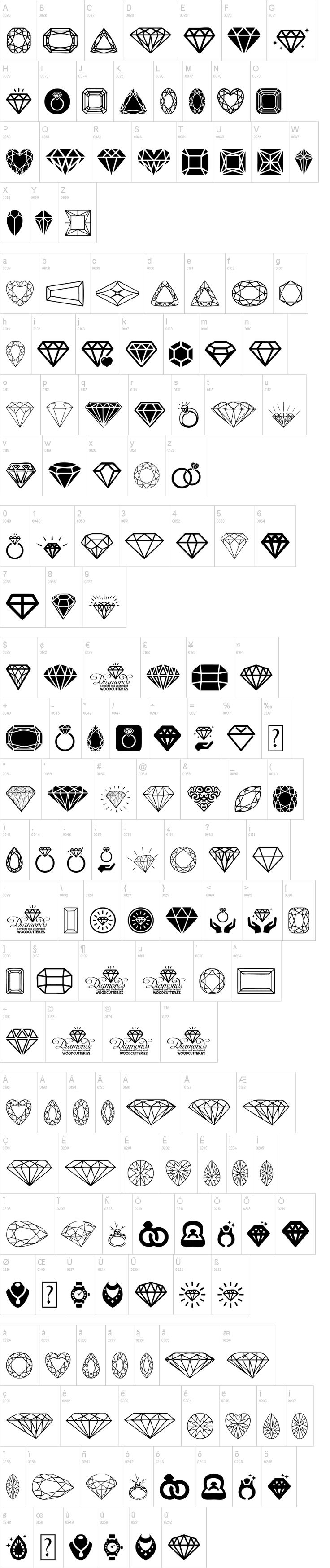 Diamonds 100% free dingbats