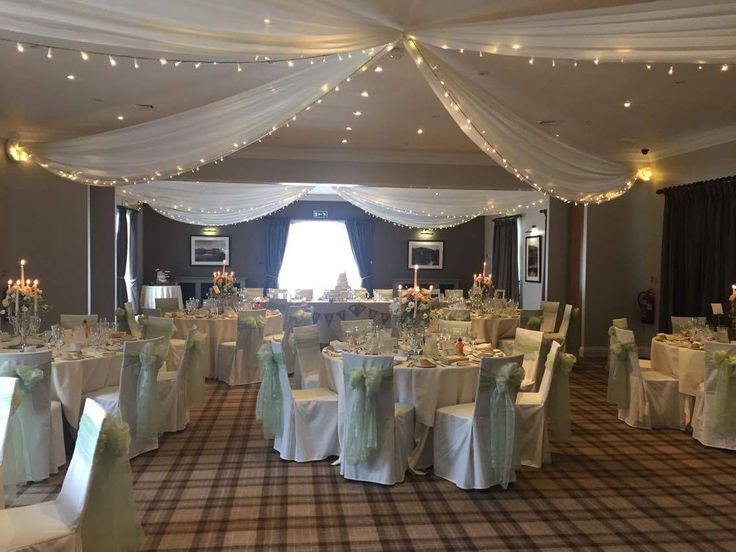 Pale green and pink with the additional fairy lights in our gorgeous wedding breakfast room - The Bannister Suite